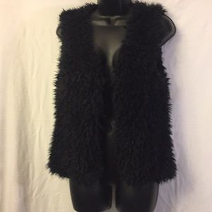 Dylan Los Angeles Black Silky Faux Fur Vest Size M